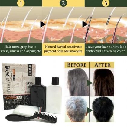 GREEN BLACK Hair Dye Shampoo 120ml 100% cover gray hair no stimulation allergy non stick scalp